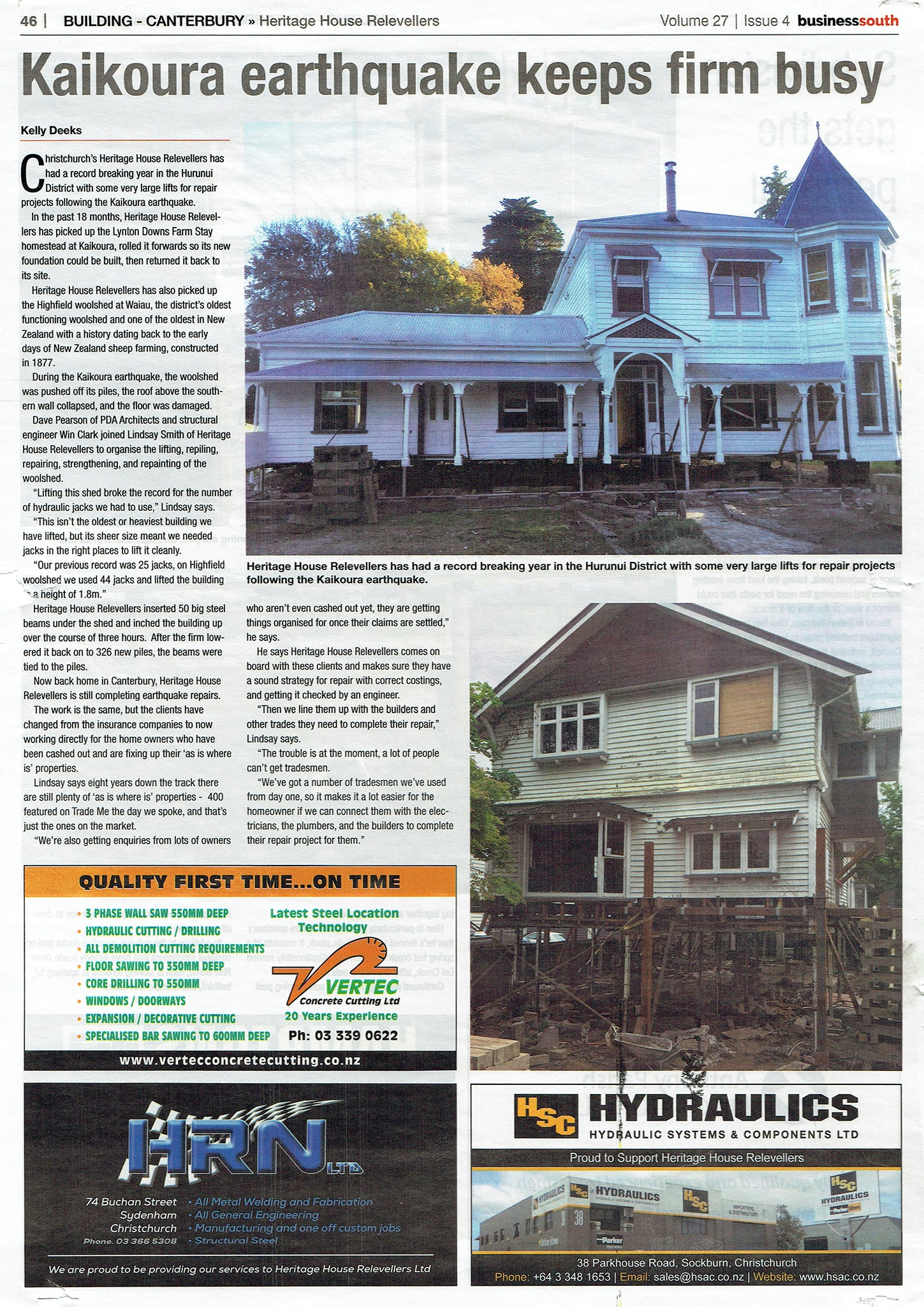 Heritage House Relevellers and Relocations in the newspaper