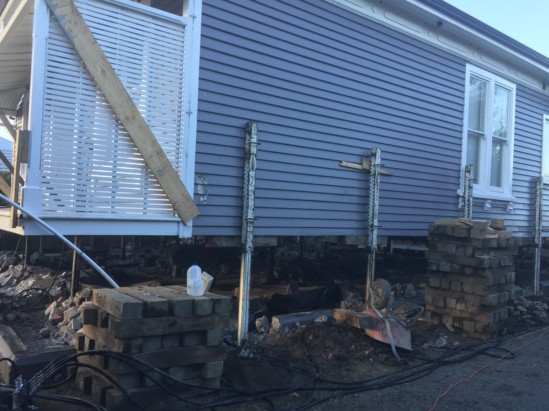 Foundation replacement performed by the Heritage House Relevellers team in Christchurch